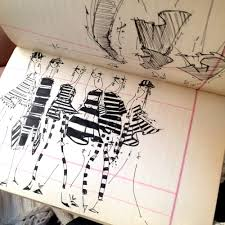 stripes markersandmicrons com fashion illustration