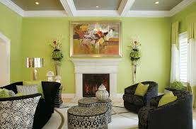 green color family room with fireplaces and elegant interior