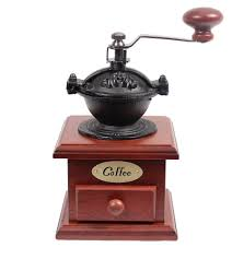 Old Fashioned Coffee Grinder Amazon Com Cherry Wood Cast Iron Coffee Bean Grinder With Drawer