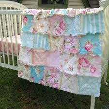 Shabby Chic Baby Bedding For Girls by Rag Crib Quilt Sunshine Roses Shabby Chic Style Pink Blue Ivory