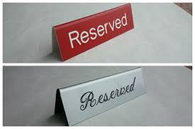 metal reserved table signs table tent signs