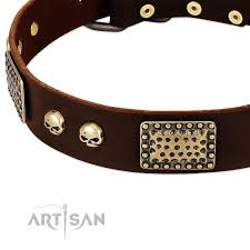 Comfortable Dog Collars Magic Amulet Brown Leather Rottweiler Collar With Skulls And