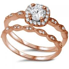 vintage wedding ring sets vintage wedding engagement ring 0 50 russian brilliant cut