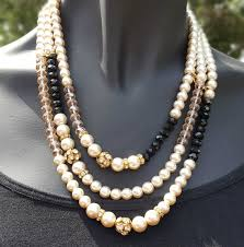 pearl bead necklace images Multi strand pearl and crystal beaded necklace jewels by elan jpg
