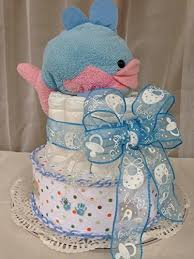 whale ribbon marine with whale ribbon and cake for