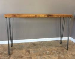 Wooden Console Table Wood Console Table Hairpin Legs Modern Rustic Wood