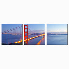 popular golden san francisco buy cheap golden san francisco lots 3 piece canvas wall art print san francisco golden gate bridge night poster modern city landscape