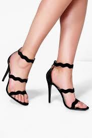 boohoo jessica wave 3 strap heels in black lyst