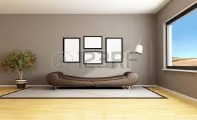 brown livingroom empty living room with brown wall windows and parquet 3d