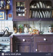 Kitchen Plate Rack Cabinet by Painted Purple Wall Cupboard With Integral Plate Rack Above