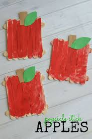 popsicle stick apples kid craft make and takes