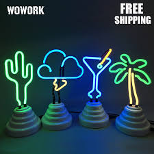Bedroom Neon Lights Flamingo Cactus Rainbow Pineapple Neon Light Usb Battery
