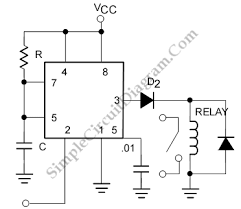 driving relay with 555 ic electronic schematics pinterest