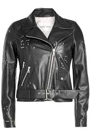 biker jacket sale sandy liang astro delancey embroidered leather biker jacket black