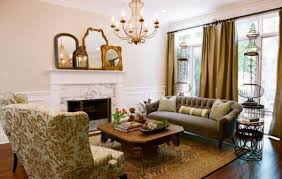 French Country Decor Stores - french country living space cream settee stone fireplace white