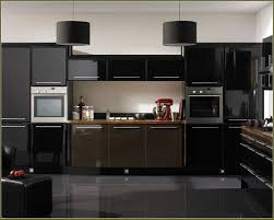 espresso kitchen cabinets with black appliances ideas