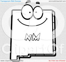 cartoon clipart of an outlined happy new mexico state character