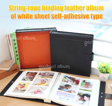 self adhesive leather string binding leather album of white sheet self adhesive from