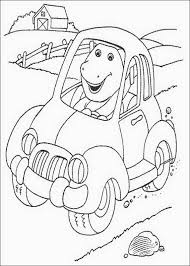 barney car coloring