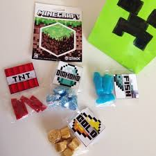 minecraft goody bags a chagne narls 7th minecraft birthday party