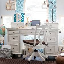 bedroom study room design for teenage using white desk and swivel