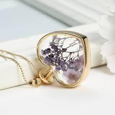 gold flower pendant necklace images Gold plated glass bottle heart dry flower pendant necklace for jpg