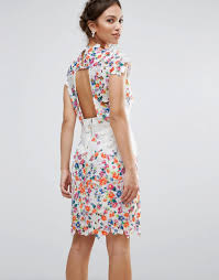 amy lynn amy lynn lace pencil dress with open back and 3d floral