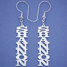 name earrings personalized sterling silver vertical dangling name earrings big size