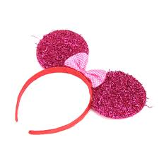 lx mickey minnie mouse ears headbands glitter sequin bows xmas