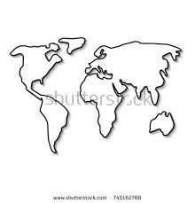 outline of world map world map black line outline minimal stock vector 745162768