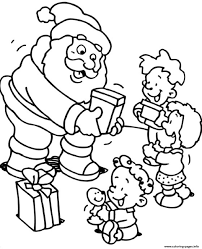 christmas s for kids santa giving some gifts to kids74f2 coloring