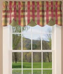 Country Plaid Valances Window Toppers Moire Plaid Lined Layered Button Valance Country