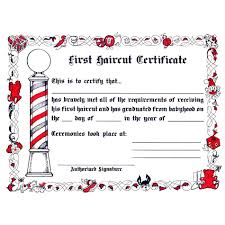 first haircut certificate 12ct capelli beauty