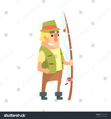 happy amateur fisherman khaki clothes standing stock vector