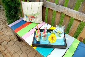 Colorful Furniture by Colorful Wood Pallet Garden Bench Homedit Cotributing Article