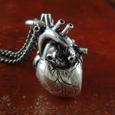 metal heart necklace images Anatomical heart necklace antique silver anatomical heart jpg