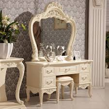 Thin Vanity Table Bedroom Furniture White Gloss Dressing Table Mirror Glass Makeup
