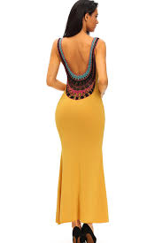 sexi maxi dresses yellow low back crochet design maxi dress party dresses