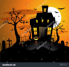 kiddie cartoon halloween background house background clipart