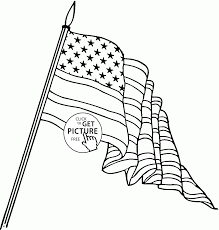 big american flag independence day coloring page for kids