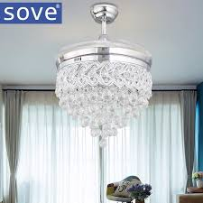 Retractable Ceiling Light Modern Luxury Folding Ceiling Fan Crystal Led Lamp Retractable