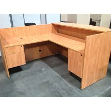 L Shaped Reception Desks Used L Shaped Reception Desk Light Oak New Office