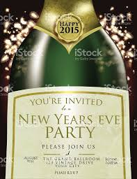happy new year eve champagne bottle invitation design template