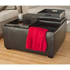 new leather ottoman with 4 traytops storage coffee table sofa