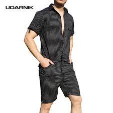 udarnik men jumpsuit pants short sleeve slim striped summer