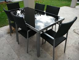 Patio Table And 6 Chairs Outdoor Furniture Table 6 Chairs Aluminium Frame With Black Glass