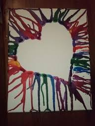 Hair Dryer Glue glue crayons on canvas then melt them with a dryer