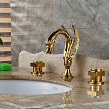 dingmans swan shaped gold finish dual handle bathroom sink faucet dingmans swan shaped gold finish dual handle bathroom sink faucet with hot cold mixer 2