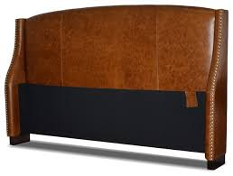 leather wing headboard with nail heads distressed brown