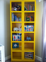nursery bookshelf ikea bookshelves window benches yellow bookcase